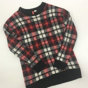Divided Plaid Long Sleeve Sweater Red Black Mohair
